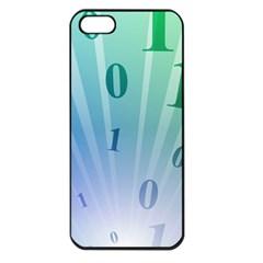Blue Binary Background Binary World Binary Flow Hand Apple Iphone 5 Seamless Case (black)