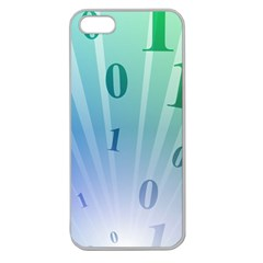 Blue Binary Background Binary World Binary Flow Hand Apple Seamless Iphone 5 Case (clear)