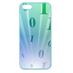 Blue Binary Background Binary World Binary Flow Hand Apple Seamless Iphone 5 Case (color)