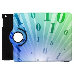 Blue Binary Background Binary World Binary Flow Hand Apple Ipad Mini Flip 360 Case