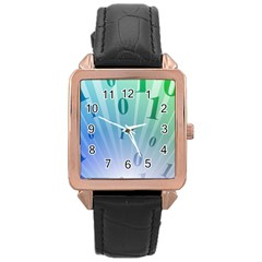 Blue Binary Background Binary World Binary Flow Hand Rose Gold Leather Watch