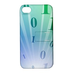 Blue Binary Background Binary World Binary Flow Hand Apple Iphone 4/4s Hardshell Case With Stand