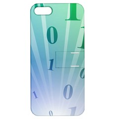 Blue Binary Background Binary World Binary Flow Hand Apple Iphone 5 Hardshell Case With Stand