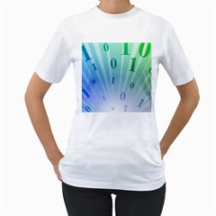 Blue Binary Background Binary World Binary Flow Hand Women s T Shirt (white)