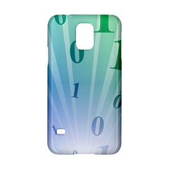Blue Binary Background Binary World Binary Flow Hand Samsung Galaxy S5 Hardshell Case