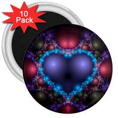 Blue Heart 3  Magnets (10 Pack)