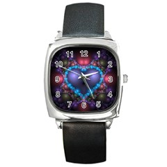 Blue Heart Square Metal Watch