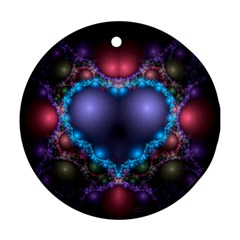 Blue Heart Round Ornament (Two Sides)