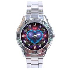Blue Heart Stainless Steel Analogue Watch