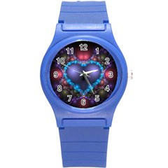Blue Heart Round Plastic Sport Watch (s)