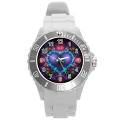 Blue Heart Round Plastic Sport Watch (l)