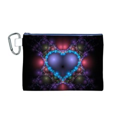 Blue Heart Canvas Cosmetic Bag (M)
