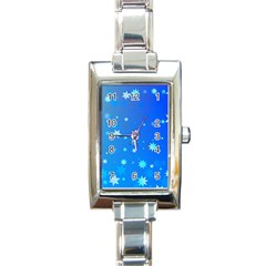 Blue Hot Pattern Blue Star Background Rectangle Italian Charm Watch