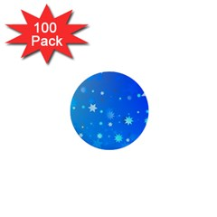 Blue Hot Pattern Blue Star Background 1  Mini Buttons (100 Pack)