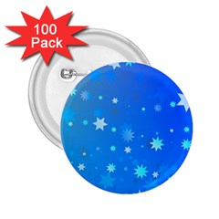 Blue Hot Pattern Blue Star Background 2 25  Buttons (100 Pack)