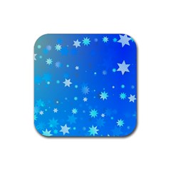 Blue Hot Pattern Blue Star Background Rubber Square Coaster (4 Pack)