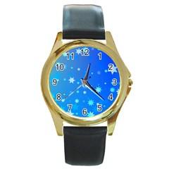 Blue Hot Pattern Blue Star Background Round Gold Metal Watch