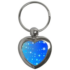 Blue Hot Pattern Blue Star Background Key Chains (Heart)