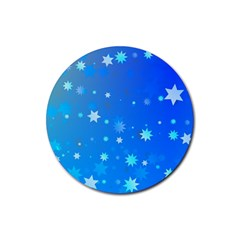 Blue Hot Pattern Blue Star Background Rubber Round Coaster (4 Pack)