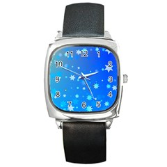 Blue Hot Pattern Blue Star Background Square Metal Watch