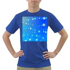 Blue Hot Pattern Blue Star Background Dark T Shirt