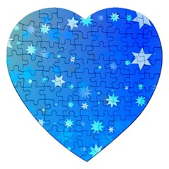 Blue Hot Pattern Blue Star Background Jigsaw Puzzle (heart)