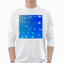 Blue Hot Pattern Blue Star Background White Long Sleeve T Shirts
