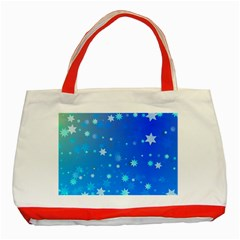 Blue Hot Pattern Blue Star Background Classic Tote Bag (red)