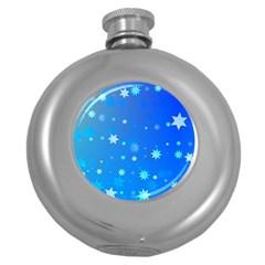 Blue Hot Pattern Blue Star Background Round Hip Flask (5 Oz)
