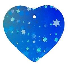 Blue Hot Pattern Blue Star Background Heart Ornament (two Sides)
