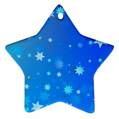Blue Hot Pattern Blue Star Background Star Ornament (two Sides)