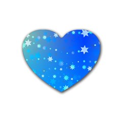 Blue Hot Pattern Blue Star Background Heart Coaster (4 Pack)