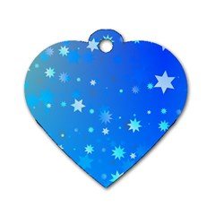 Blue Hot Pattern Blue Star Background Dog Tag Heart (two Sides)