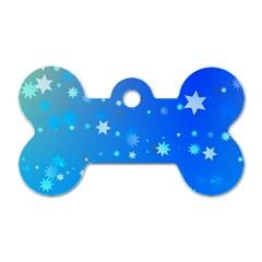 Blue Hot Pattern Blue Star Background Dog Tag Bone (one Side)