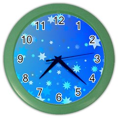 Blue Hot Pattern Blue Star Background Color Wall Clocks