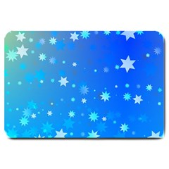Blue Hot Pattern Blue Star Background Large Doormat