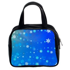 Blue Hot Pattern Blue Star Background Classic Handbags (2 Sides)