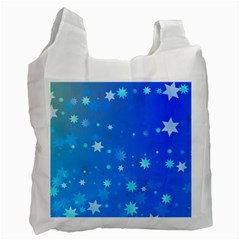 Blue Hot Pattern Blue Star Background Recycle Bag (two Side)