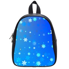 Blue Hot Pattern Blue Star Background School Bags (small)