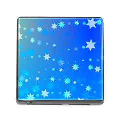 Blue Hot Pattern Blue Star Background Memory Card Reader (square)