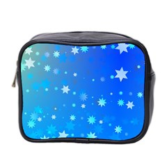Blue Hot Pattern Blue Star Background Mini Toiletries Bag 2 Side