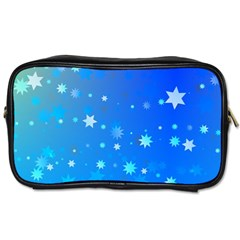 Blue Hot Pattern Blue Star Background Toiletries Bags 2 Side