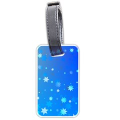 Blue Hot Pattern Blue Star Background Luggage Tags (one Side)