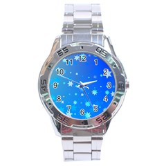 Blue Hot Pattern Blue Star Background Stainless Steel Analogue Watch