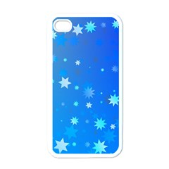 Blue Hot Pattern Blue Star Background Apple Iphone 4 Case (white)