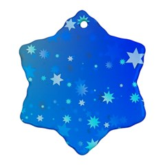 Blue Hot Pattern Blue Star Background Snowflake Ornament (two Sides)