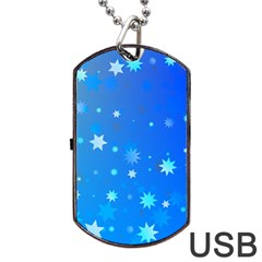 Blue Hot Pattern Blue Star Background Dog Tag Usb Flash (two Sides)