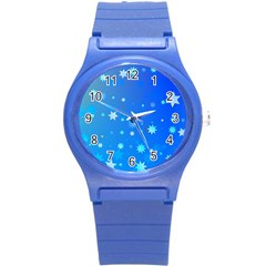 Blue Hot Pattern Blue Star Background Round Plastic Sport Watch (s)