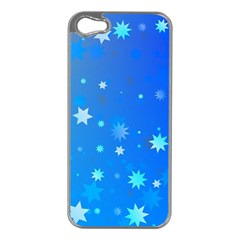 Blue Hot Pattern Blue Star Background Apple Iphone 5 Case (silver)