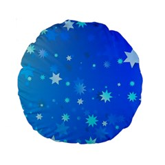 Blue Hot Pattern Blue Star Background Standard 15  Premium Round Cushions
